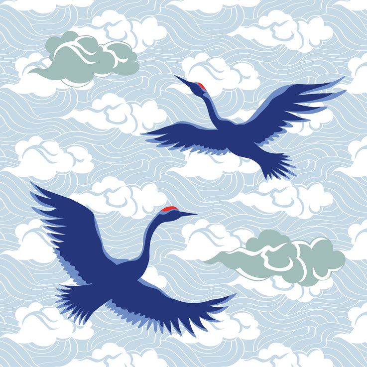 Cranes and Clouds | vector and pattern | Illustrator file available at adobe stock | 31768839