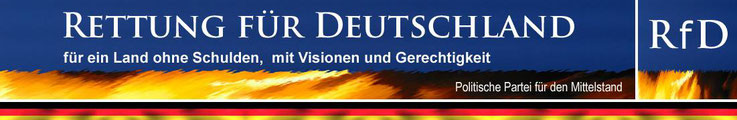 Rettung für Deutschland RfD Partei Logo für ein Land ohne Schulden mit Visionen und Gerechtigkeit Politische Partei für den Mittelstand Mittelstandspartei