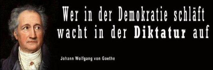 Wer in der Demokratie schläft wacht in der Diktatur auf Zitat Johann Wolfgang von Goethe Bild