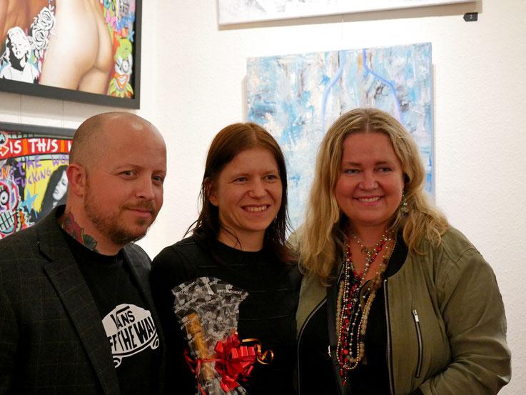 Bjørge Rødfjell, Susanne Höhne und Anita Hegerland zur Vernissage in Leipzig