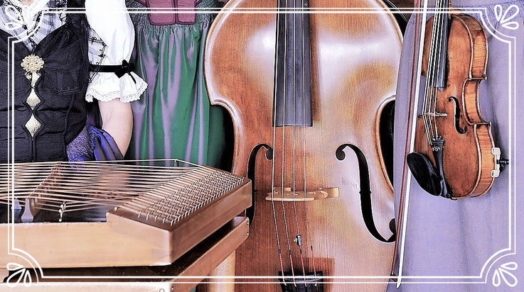 Instrumente , Geige , Kontrabass , Hackbrett , Frauestriichmusig , streichmusik