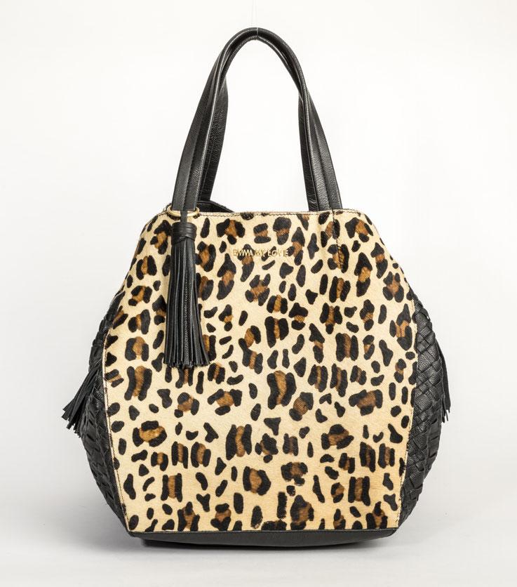 grosser Shoppers aus echtem Leder mit Leopard Design von EMMA MY LOVE