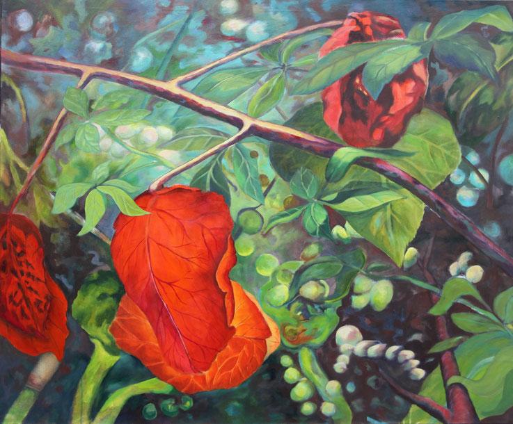 Ute Thalheim, Arcylmalerei, gegenständlich, Lichtdurchflutete Blätter in dichter Vegetation, rot grün