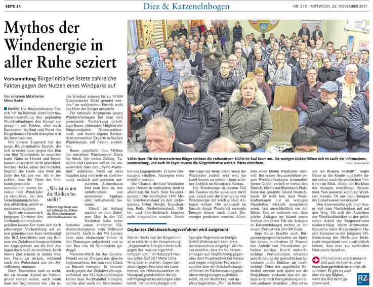 Rhein-Lahn-Zeitung v. 22.11.2017