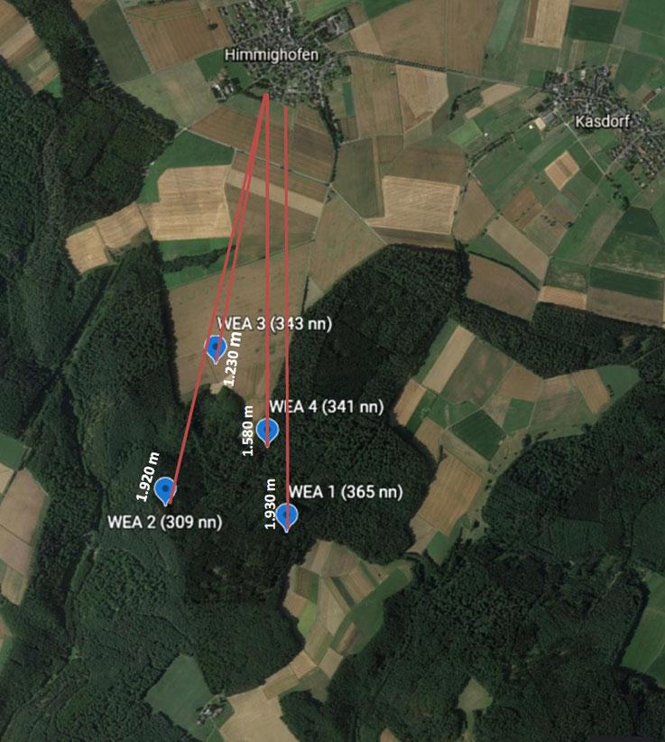 Standorte der WKA (ungefähre Lage anhand der veröffentlichten Informationen)