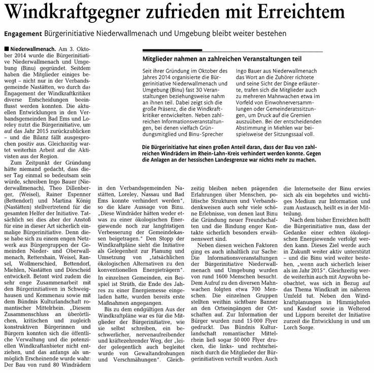 Rhein-Lahn-Zeitung v. 29.12.2015