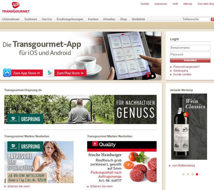 Homepage Transgourmet