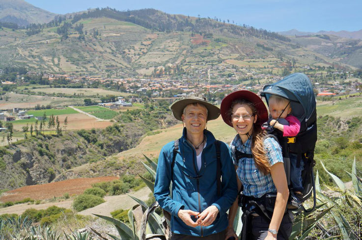 family Sonja and Werner Kessler with Johanna in Curahuasi Peru at Diospi Suyana