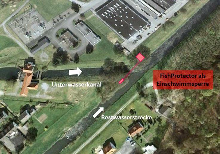 Abb. 3: FishProtector als Einschwimmsperre im Unterwasser eines Kraftwerks