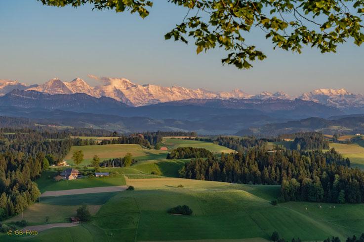 Blick von der Lueg in die Alpen