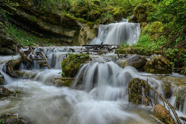 Dank dem vielen Regen führen die Bäche sehr viel Wasser, wie hier die hintere Frenke bei Reigoldswil