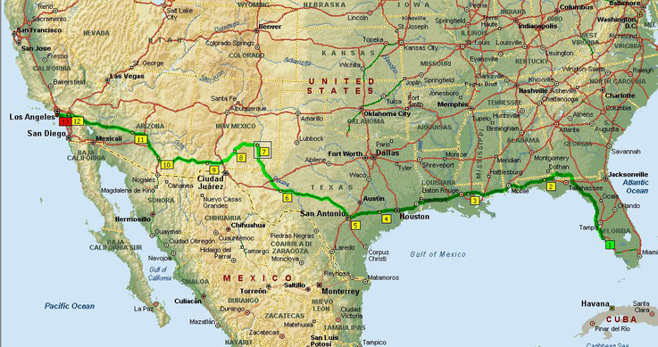 Venice - Los Angeles, ca. 4.900 km (Microsoft Streets & Trips)