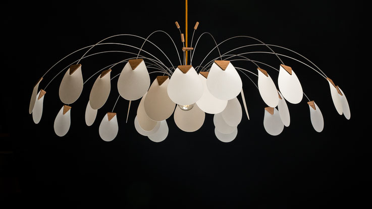 luminaire design papier bois  grande corolle