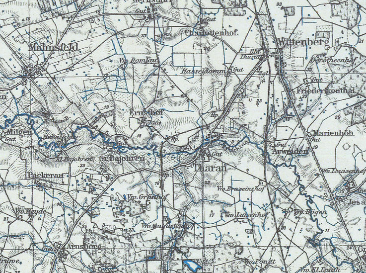 Quelle: http://maps.mapywig.org - Ausschnitt aus dem Messtischblatt des Kreises Königsberg von ca. 1925