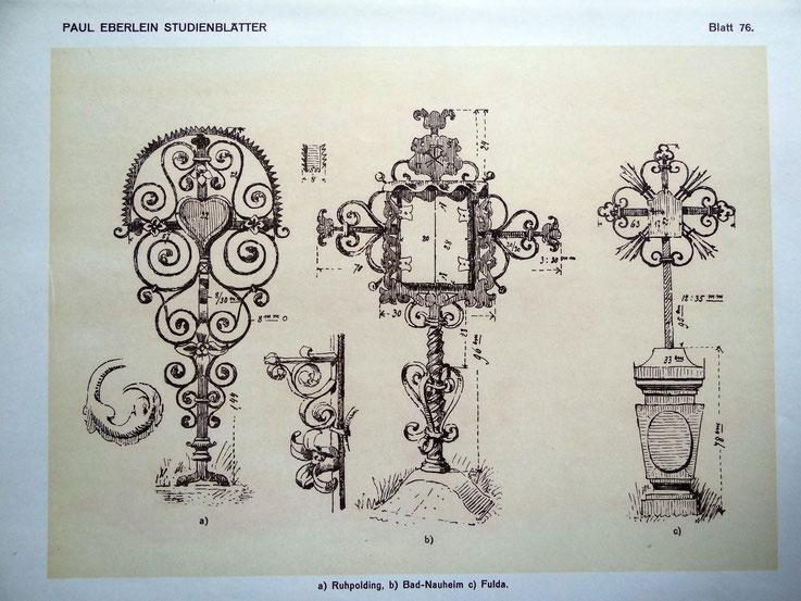 Das alte Bad Nauheimer Grabkreuz von 1723, Zeichnung von Paul Eberlein um 1910
