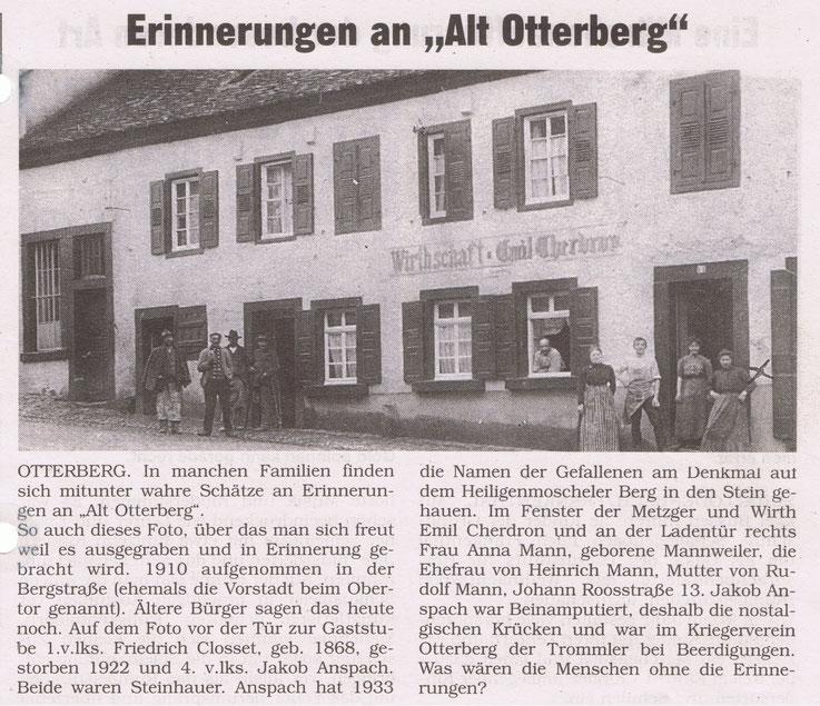 """1910,  Gaststätte zum Kreuz. Artikel und Bild aus der Serien """"Alt Otterberg"""" von Kurt Close im Stadt- und Landkurier"""