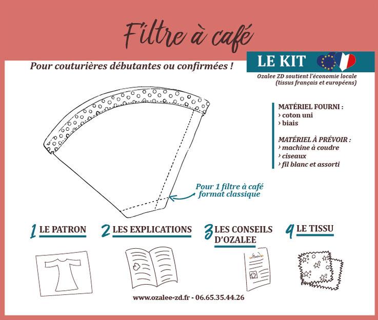 kit de couture pour créer son filtre à café lavable en lin