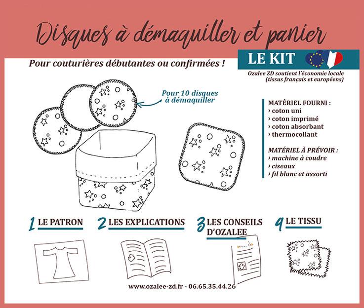 kit de couture pour créer 10 disques à démaquiller avec panier en tissu assorti