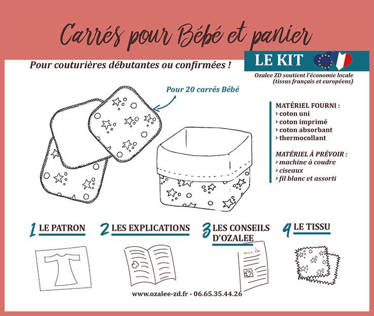 kit de couture pour créer des carrés pour bébé avec panier en tissu assorti