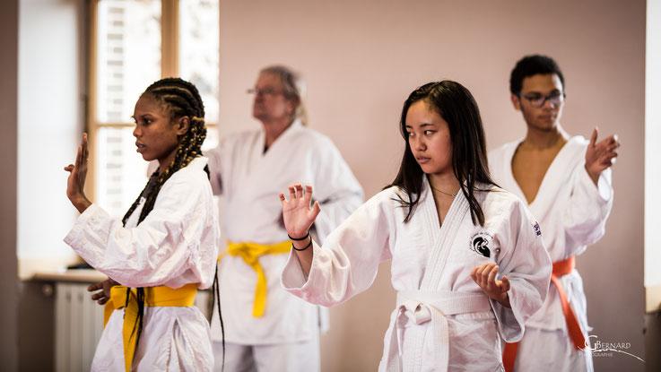 Au Mushin-Kan les générations se côtoient et pratiquent ensemble : Noadia (17 ans), Jacques (68 ans), Sayaka (16 ans, japonaise étudiante en France) et Alexandre (17 ans). Photo au Dojo de Davézieux.
