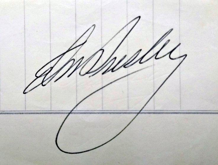 Autogramm von Elvis Presley auf dem Papier eines Schulheftes, Geschenk von Gerda Ziadak 06.06.2015