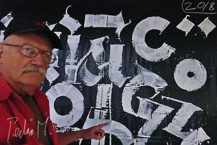Pedro Meier an 21.Triennale Grenchen, siehe Katalog Abb./Doku S.52 – Pedro Meier © »Selfie-Art-Project« / Pokras Lampas - Calligraphy. www.triennale.ch Grenchen Kunsthaus Parallelausstellung. Pedro Meier Multimedia Artist Niederbipp / Bangkok – SIKART ZH