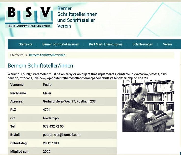 Pedro Meier – Berner Schriftsteller Verein – BSV – Mitglied – Pedro Meier Lyriker, Schriftsteller, multimedial arbeitender Künstler – Mitglied: Autorinnen und Autoren der Schweiz (AdS) Zürich – Gerhard Meier-Weg – 4704 Niederbipp – Künstlerlexikon SIKART