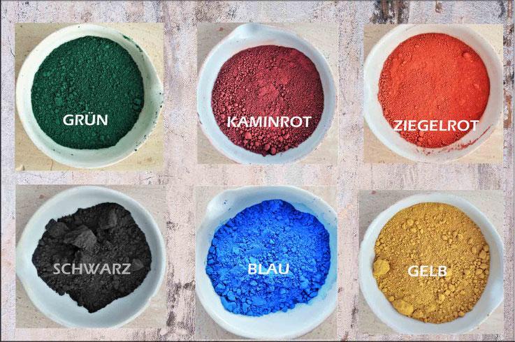 günstige  mineralische Farbpigmente in 6 verschiedenen Farbvarianten für Beton, Estrich, Putz, Mörtel und Malerfarbe, Farbpigmente günstig, Pulverfarbe Oxidfarbe Pigment, zementecht Trockenfarbe