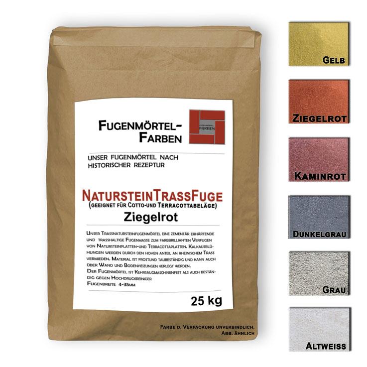 Terracotta-und Natursteinfugenmörtel in vielen Farbvarianten bestens für breite Fugen geeignet frostsicher