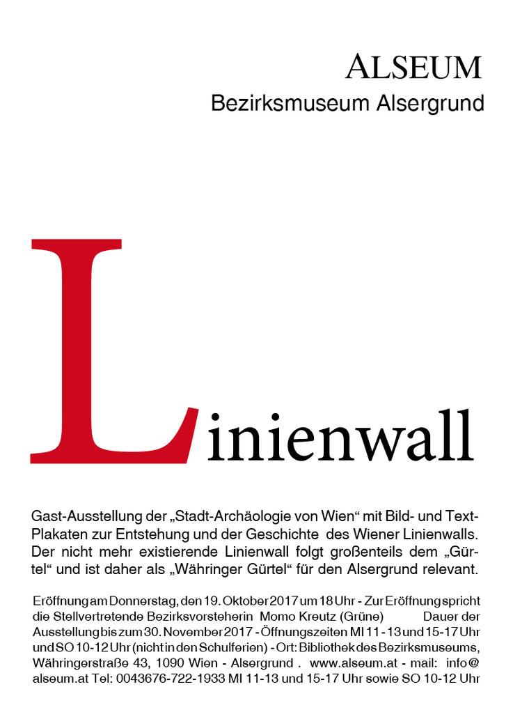 """Linienwall Gast-Ausstellung der """"Stadt-Archäologie von Wien"""" mit Bild- und Text- Plakaten zur Entstehung und der Geschichte des Wiener Linienwalls. Der nicht mehr existierende Linienwall folgt großenteils dem """"Gürtel"""" und ist daher als """"Währinger Gürtel"""