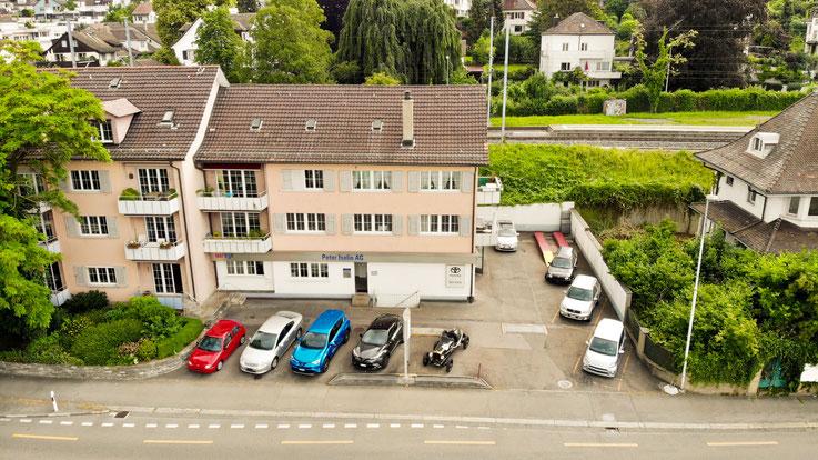 Garage Peter Iselin von Drohne aufgenommen