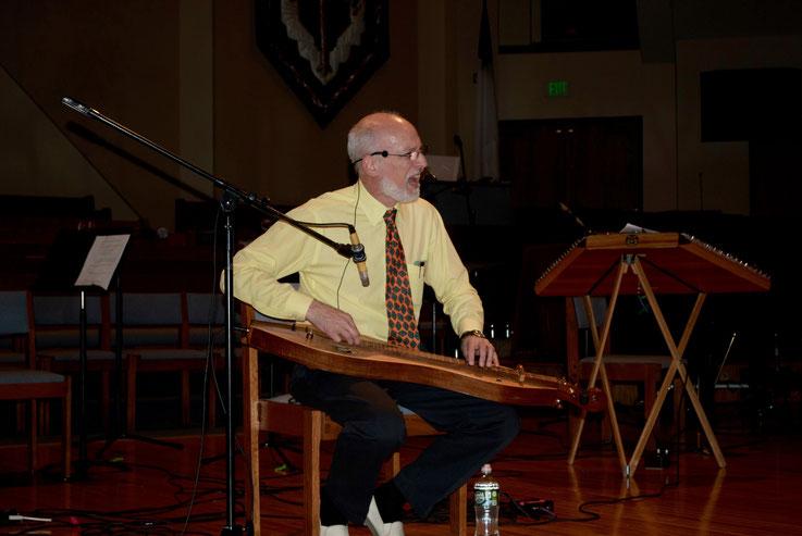 Sam performing at the 2020 Colorado Dulcimer Festival. (Photo by John V. Hammer)