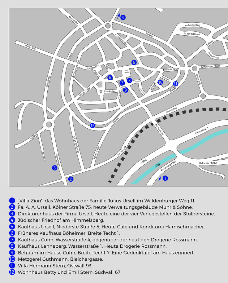 Ein Stadtplan von Attendorn mit jüdischen Points of Interest
