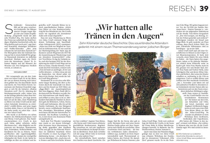 Bericht aus der Zeitung Die Welt