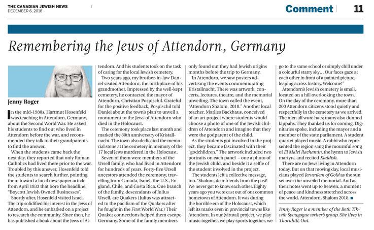 Bericht aus der Canadian Jewish News