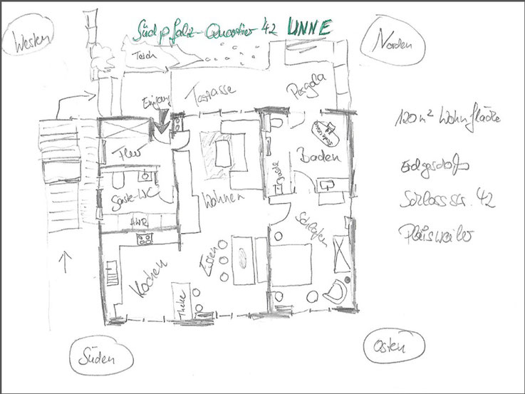 Skizze zum Grundriss der Ferienwohnung 'UNNE'