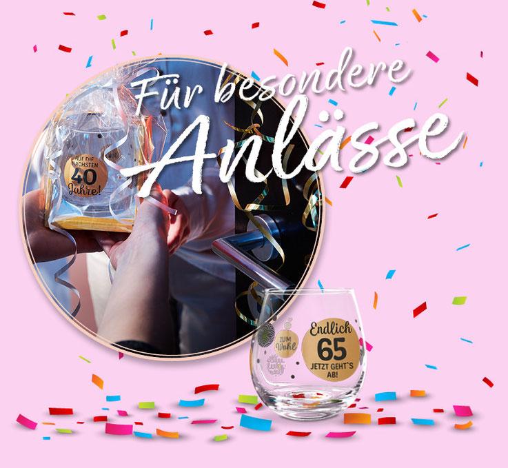 Die Geschenkidee für besondere Anlässe zum 40. 50. 65. Geburtstag Weinglas Cocktailglas von formano