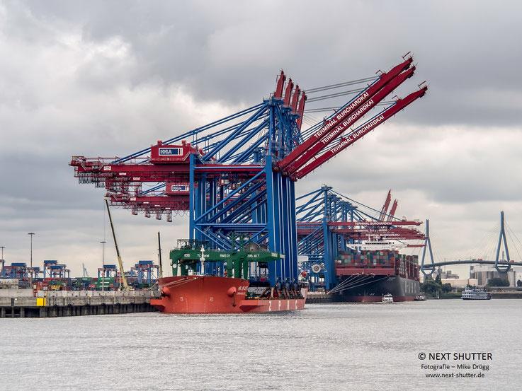 Nachden das Schiff drei Tage an den Pfählen lag, nun angekommen am Burchardkai im Waltershofer Hafen.