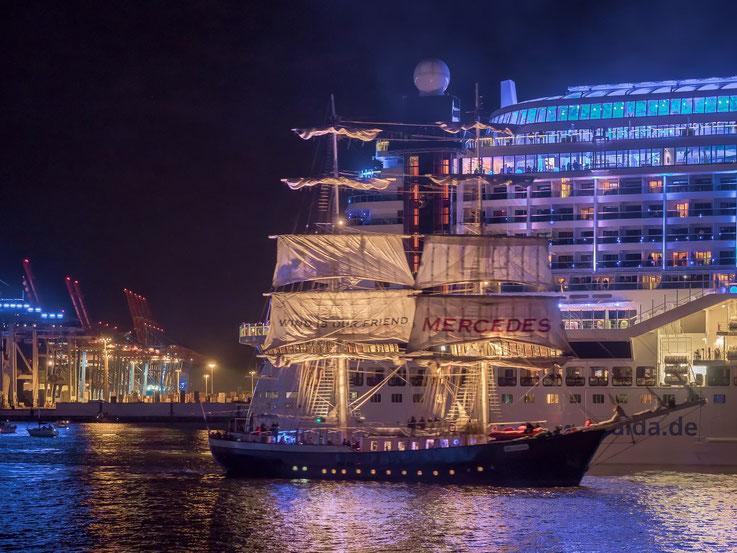 Die Kreuzfahrtschiffe wurden von zahlreichen  Barkassen, Sportbooten und Traditionsschiffen begleitet