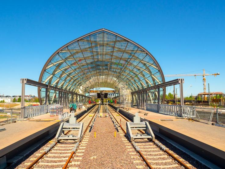 Der Bahnhof wärend der Bauphase
