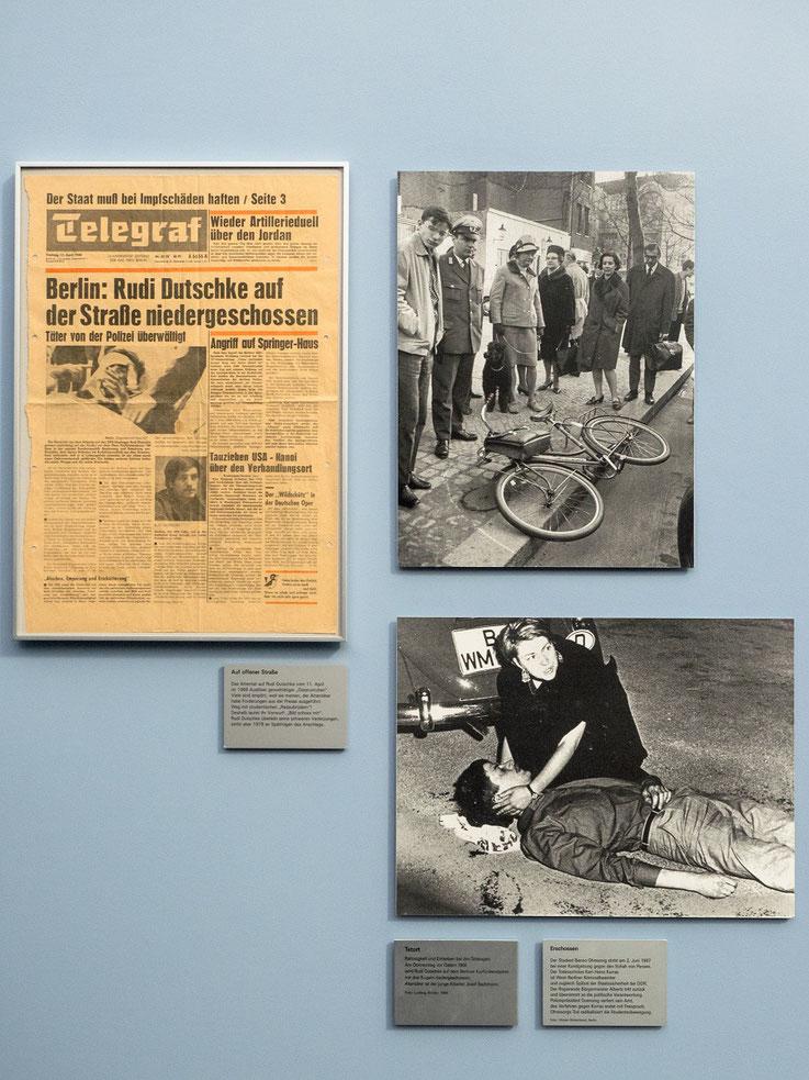 Gewalt bei der politischen Auseinandersetztung. Rudi Dutschke wird niedergeschossen, der Student Benno Ohnesorg am Rande einer Anti-Schah (von Persien) Demontration von einem Polizeibeamten erschossen. Der Polizist war ein Agent der DDR Staatssicherheit.