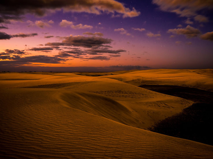 Die Dünen von Maspalomas kurz vor Sonnenaufgang / The dunes of Maspalomas at dusk