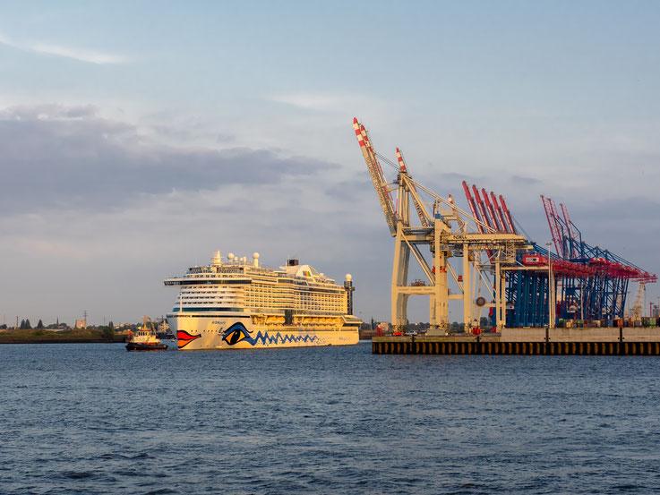 Die AIDA Perla wird vom Cruise Center Steinwerder zu den St. Pauli Landungsbrücken verholt.