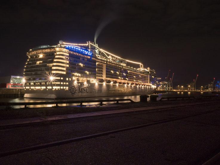 """Nach der Auslaufparade kehrte die """"MSC Preziosa"""" wieder in den Hafen zurück damit die Passagiere am nächsten Tag Hamburg erleben konnten."""