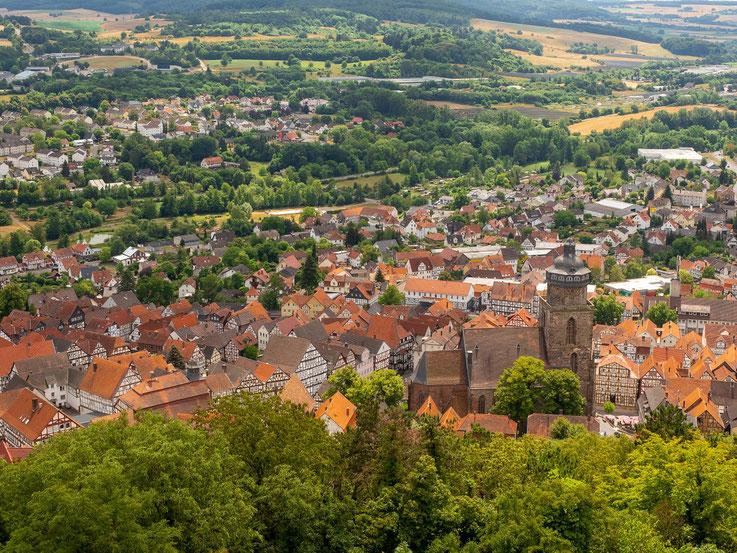 Blick von der Burg auf Homberg