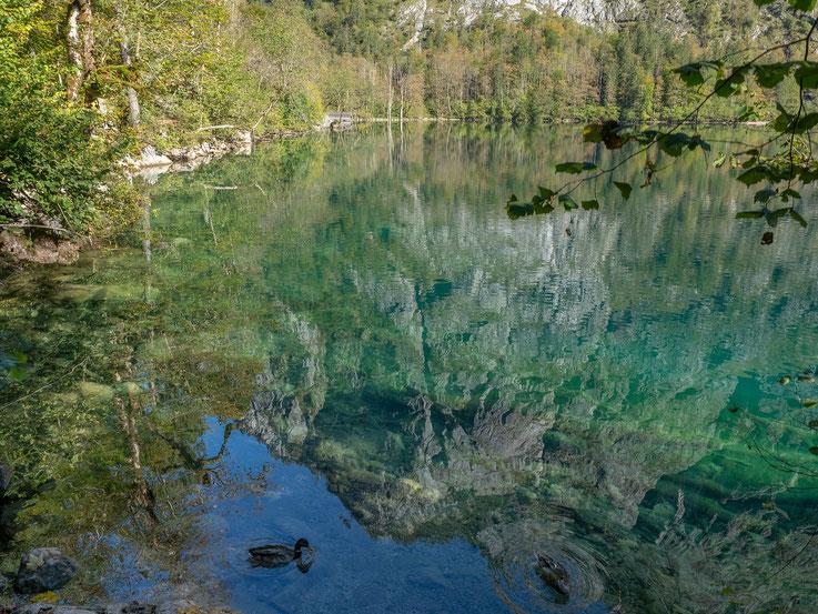 In dem glasklaren Wasser spiegeln sich  die steil aufragenden Felswände.
