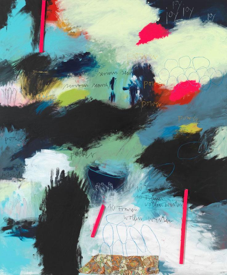 Rebecca Raue, ZEHN FRAUEN WOLLEN WEITER, 2016, Acryl, Bleistift, Buntstift, Kohle, Pastell, Balsaholz und Stoff auf Leinwand, 175 x 145 x 6 cm)