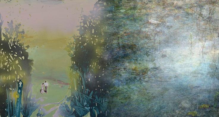 Andrea Damp, LEUCHTKÄFER, 2016, Öl und Acryl auf Leinwand, 80 x 100 cm (Ausschnitt); Daniel Sigloch, WIMSEN VI, 2016, C-Print auf Forex, kaschiert, 215 x 120 cm (Ausschnitt)