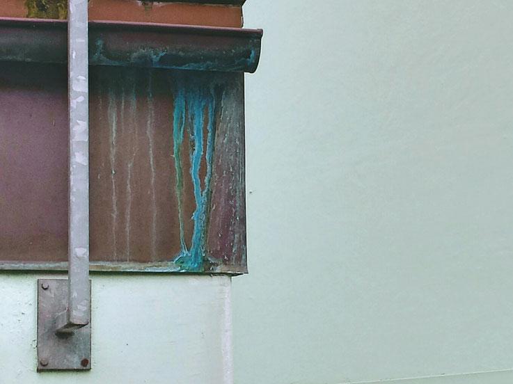 Regenrinne, Patina, Kupfer