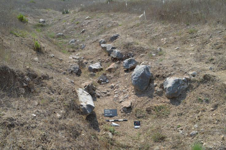 Abb. 5: Reste einer Kanaleinfassung im Wadi südlich von Gebäude O1 (Foto: A.E. Sollee).